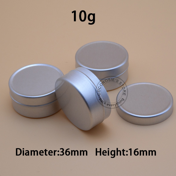 200pieces lot 10g Empty Aluminum Jar Silver Cosmetic Container tin Refillable Aluminum cases