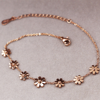 New Titanium Steel Brand Jewelry 7 Daisy Anklets For Women Rose Gold Color Fashion Prevent Allergy Summer Jewelry