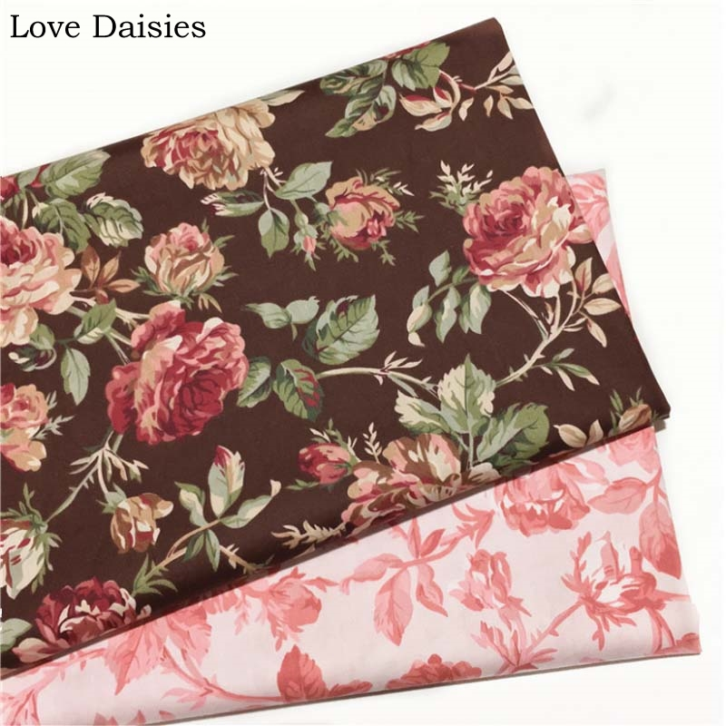 Shabby Chic Roses on Brown 100/% Cotton Fabric Price per 1//2 metre