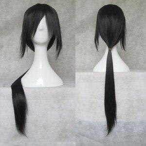 Image 1 - IHYAMS Wigs 80CmยาววิกผมCosplayสังเคราะห์Skunks AphสีดำNaruto APH Yao Uchiha Itachiเครื่องแต่งกายวิกผม