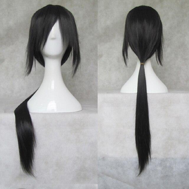 IHYAMS Wigs 80CmยาววิกผมCosplayสังเคราะห์Skunks AphสีดำNaruto APH Yao Uchiha Itachiเครื่องแต่งกายวิกผม