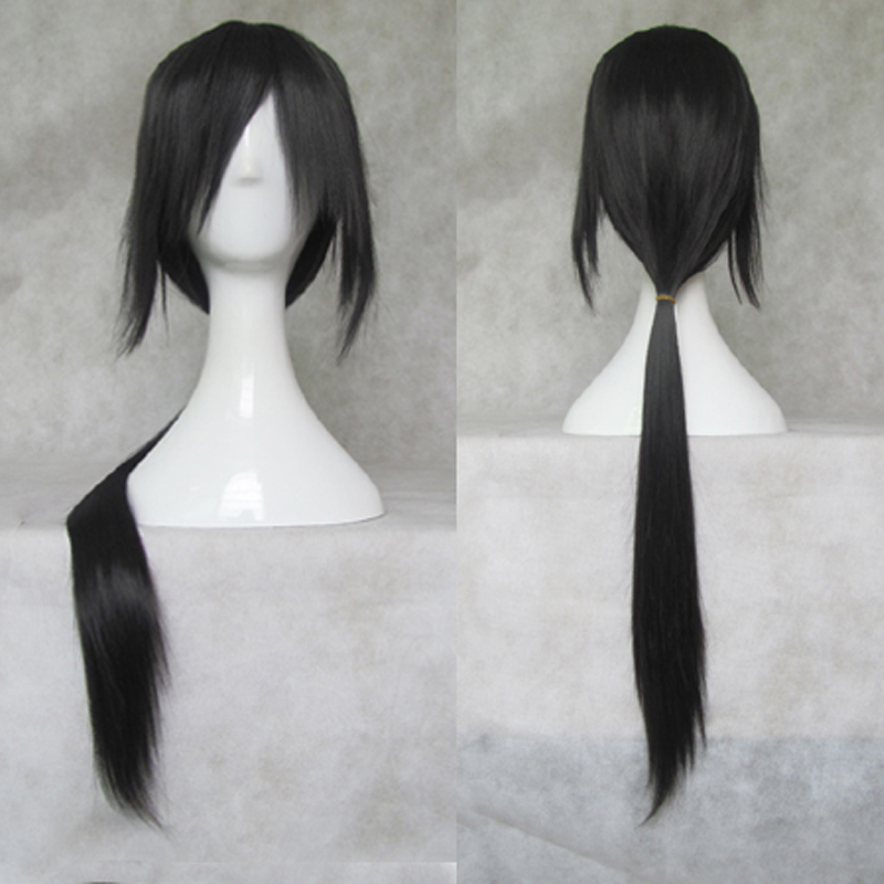 IHYAMS Wigs 80cm Long Synthetic Cosplay Wig Skunks Aph Black Naruto APH Yao Uchiha Itachi Costume Wigs