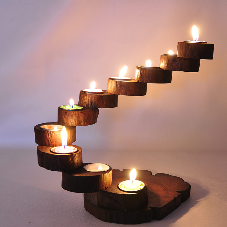 Creative personality handmade wooden candlesticks for Creative candle holders