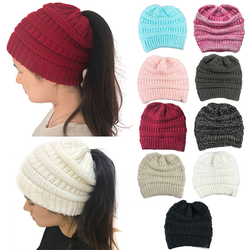 Ponytail   Beanie   Winter Hats for Women   Beanies   Crochet Knit Cap   Skullies     Beanies   Warm Caps Female Hats Knit Messy Bun Stylish Hat