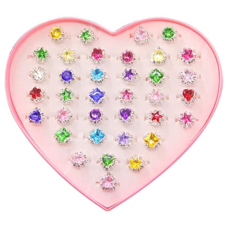 36pcs Colorful Rhinestone Gem Rings In Box, Adjustable Little Girl Jewel Rings In Box Children Kids Little Girl Gift, Girl Pre