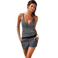 Tankini Dot Bikini Set Women Swimwear Shorts Swimsuit High Waist Bathing Suit Padded Swimming Suit For