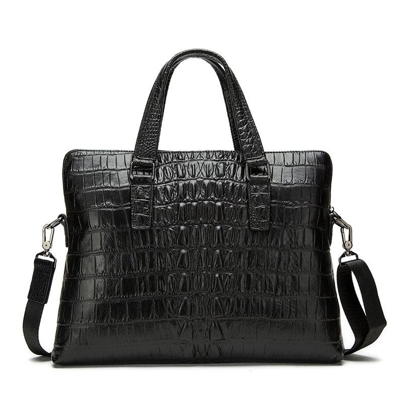 Genuine Leather Men Bags Men's Crocodile Pattern Briefcase Messenger Bag Male Handbag Laptop Tote 14 inches Crossbody Bags NEW