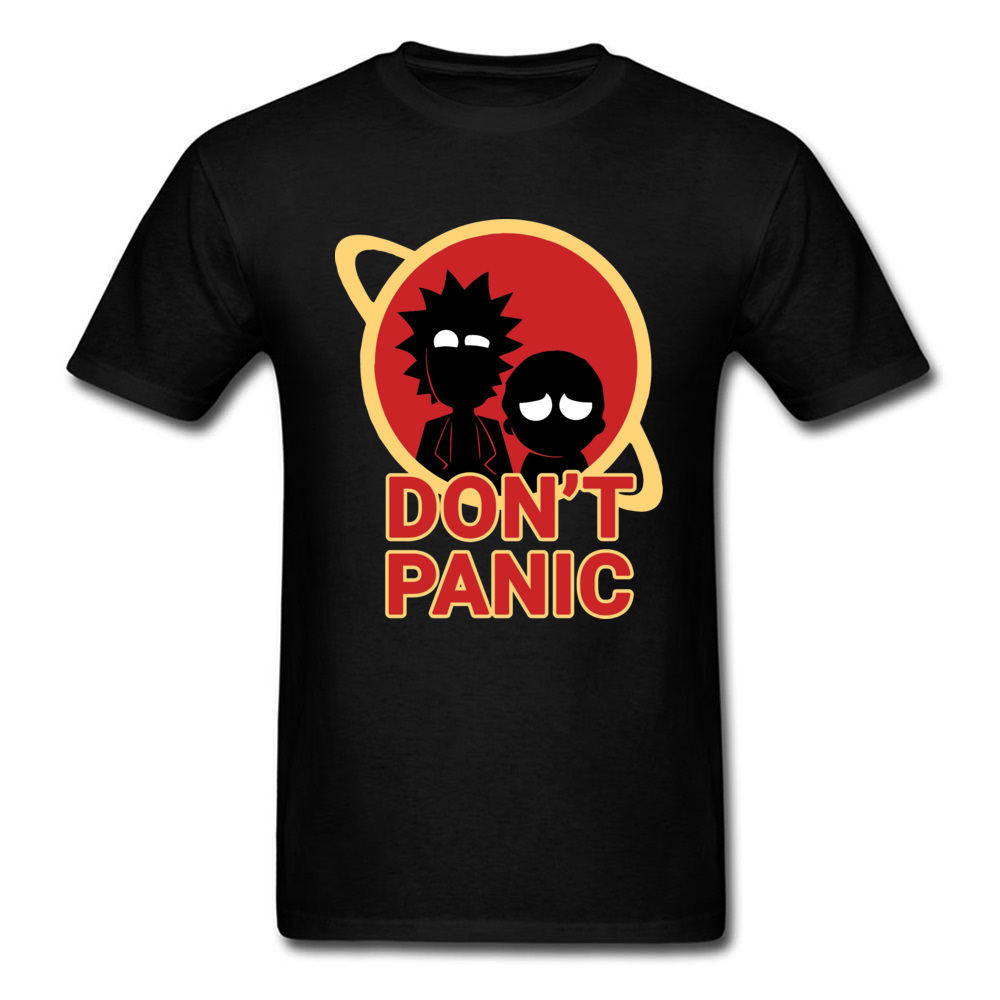 Don't Panic T-shirt Men Space X TShirt Occupy Mars Tops & Tees Funny Rick And Morty T Shirt Company 100% Cotton Clothes Slim Fit