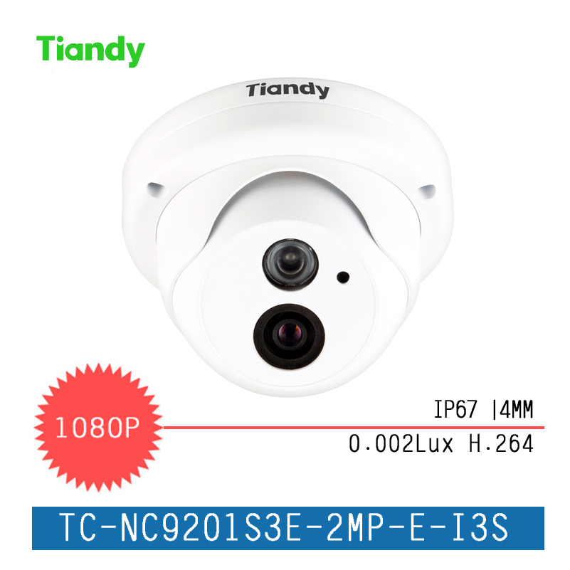 Tiandy 2MP Fixed IR Dome Series IP Camera Waterproof Outdoor Security Camera 1080P HD Infrared Night Vision Network Camera 4 in 1 ir high speed dome camera ahd tvi cvi cvbs 1080p output ir night vision 150m ptz dome camera with wiper
