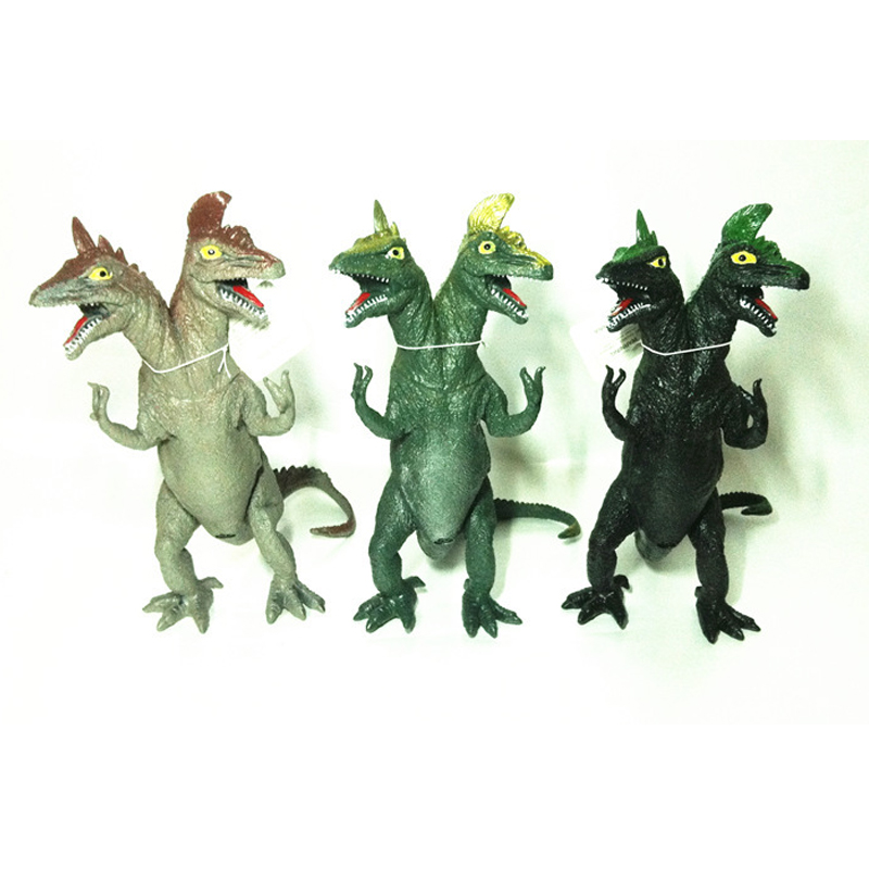 3 Pieces/lot Plastic Double Head Simulation Dinosaur Sounding Novel Toy Vinyl Doll For Kids Gifts  13pcs simulation vinyl dinosaur models hand puppet kids child educational development gift toy set