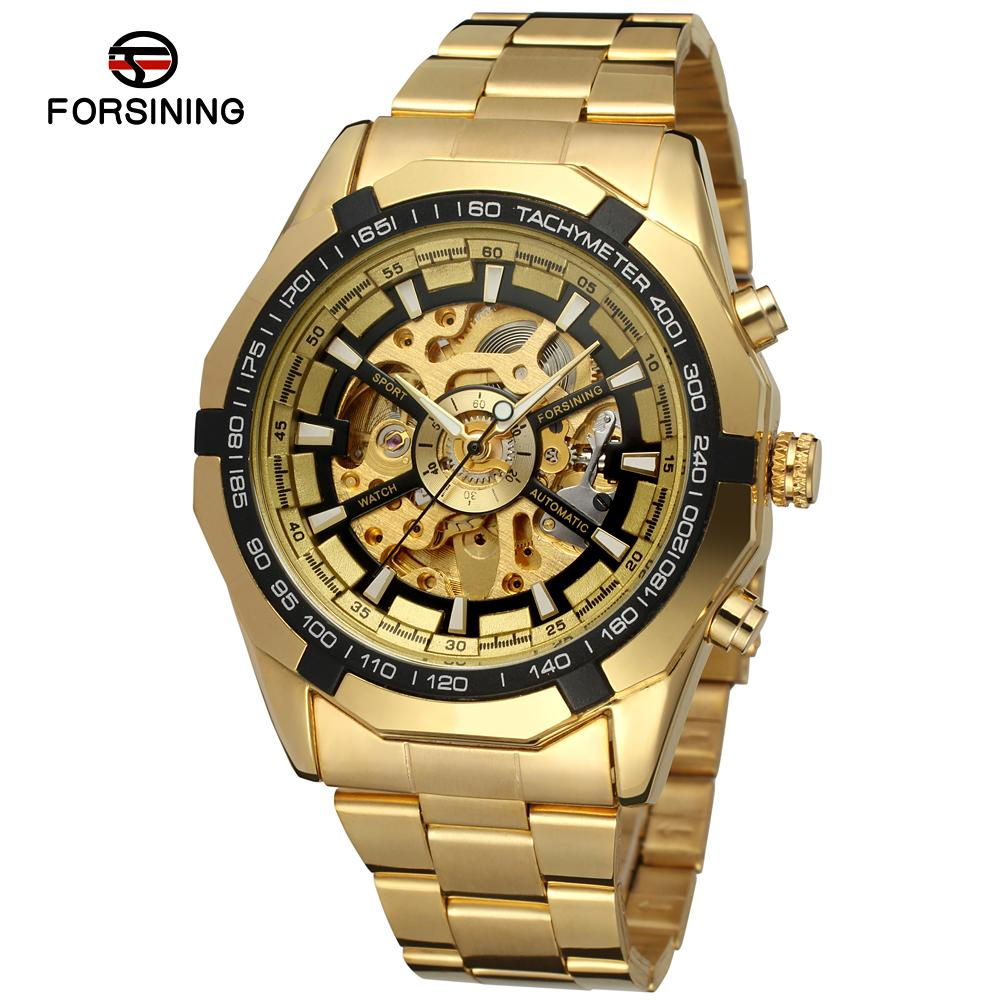 FORSINING Men s Watch Antique Skeleton Stainless Steel Bracelet Wristwatch Color Gold FSG8042M4