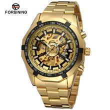 FORSINING Reloj Antiguo Esqueleto de Acero Inoxidable Reloj de Pulsera de Los Hombres de Color Oro FSG8042M4