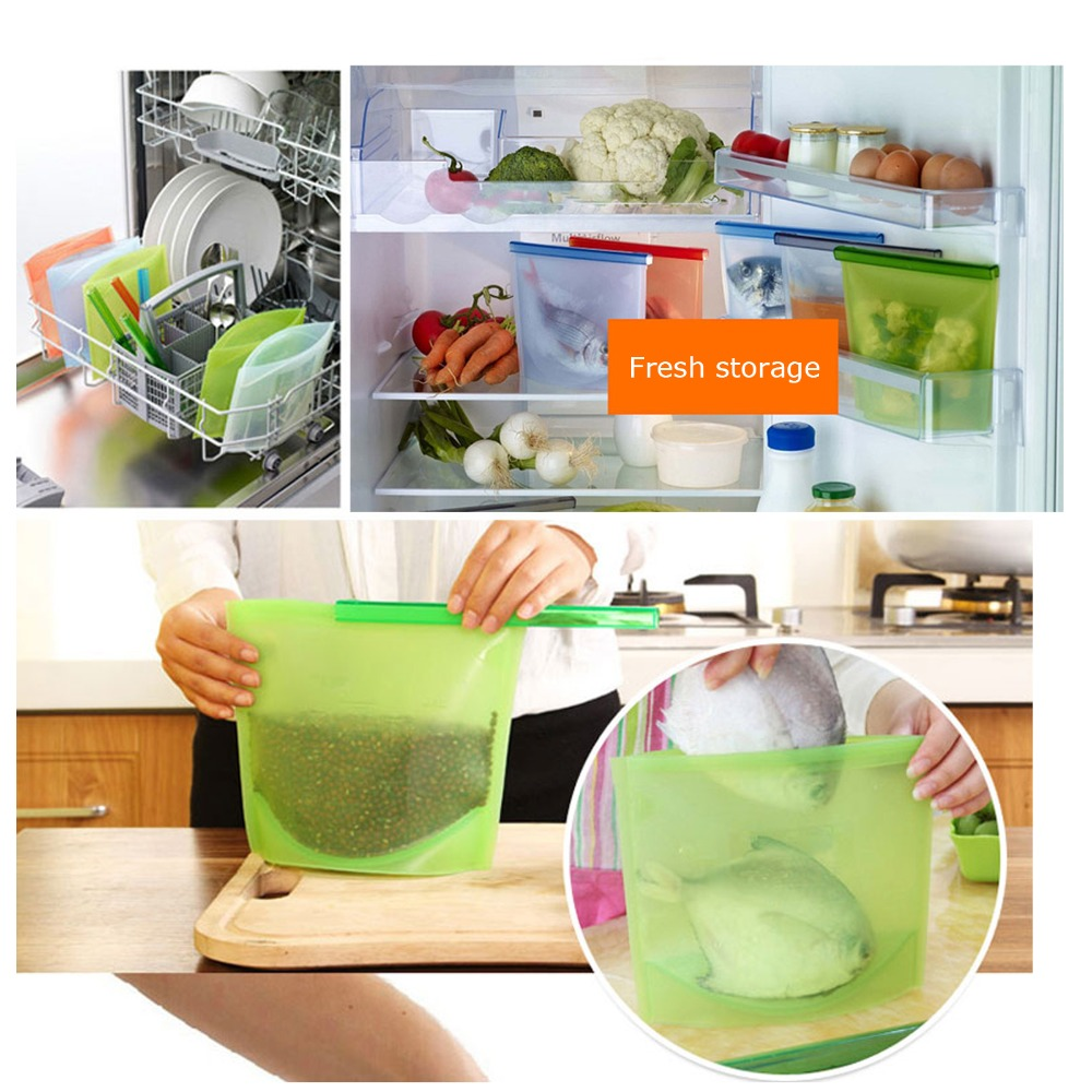 1PCS 1000ml Kitchen Food Sealing Storage Bag Reusable Refrigerator Fresh Bags Silicone Fruit Meat Ziplock Kitchen Organizer in Saran Wrap Plastic Bags from Home Garden