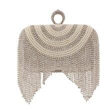 Fashion Mini Pearl Beading Evening Clutch Handbag For Women Crystal Tassels Frame Flap Casual Shoulder Bag Crossbody Messenger
