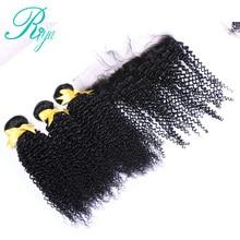 Riya Hair Afro Kinky Curly Human Hair Bundles With Frontal Closure Brazilian Hair Weave Bundles with Lace Frontal Closure Remy