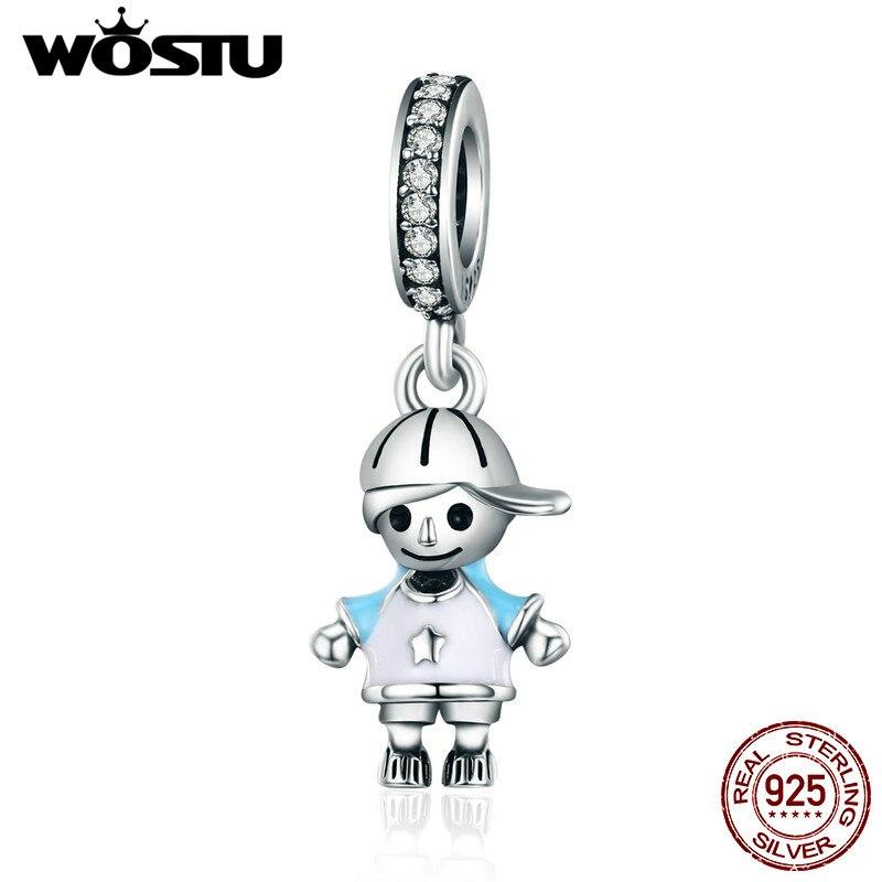 WOSTU Brand New 100% 925 Sterling Silver Little Cute Boy Son Pendant Dangle fit Charm Bracelet Necklace DIY Jewelry Gift CQC544 wostu 100