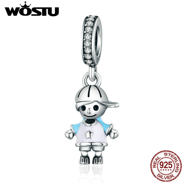 WOSTU Brand New 100% 925 Sterling Silver Little Cute Boy Son Pendant Dangle fit Charm Bracelet Necklace DIY Jewelry Gift CQC544
