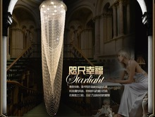 Free Shipping Modern Long Crystals Pendant Lamp D400MM D500MM D600MM Lustres Stair Lighting Fixtures Guaranteed 100