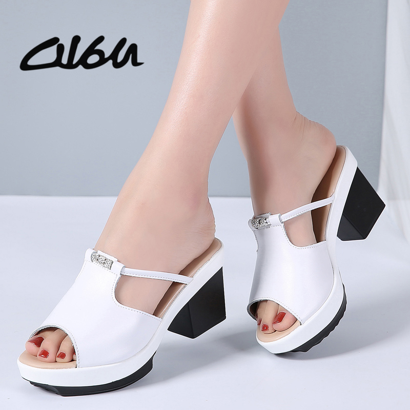 O16U 2018 Summer Women Sandals Shoes Leather Slip on Slippers Casual Mature Sandals Square Heel High Sandals Shoes Ladies Brand xiaying smile new summer women sandals high square heels pumps fashion platform shoes casual lady mature style slip on shoes