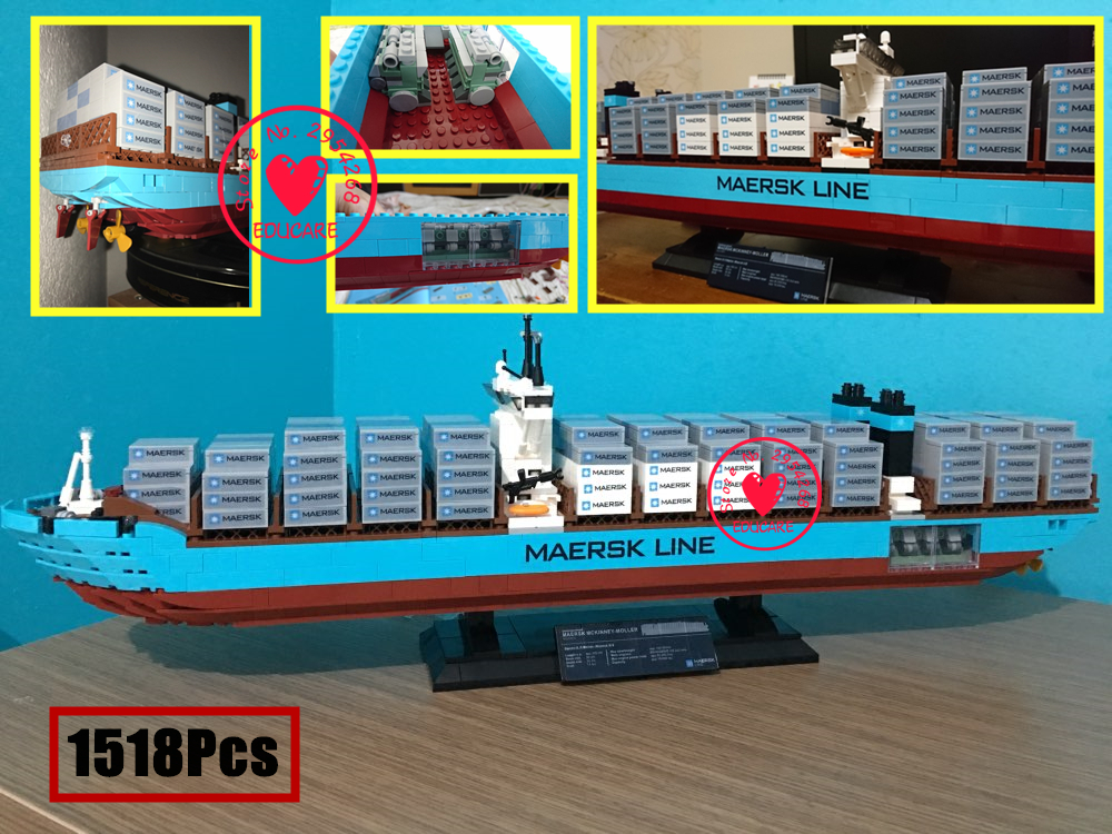 22002 Technic Series The Maersk Cargo Container Ship Set Educational model Building kit Blocks Bricks Model Toys kid Gift 10241 lepin 22002 1518pcs the maersk cargo container ship set educational building blocks bricks model toys compatible legoed 10241