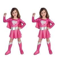 children pink superman costume girl dress halloween cosplay party super hero costume with cape boots belt CS05156