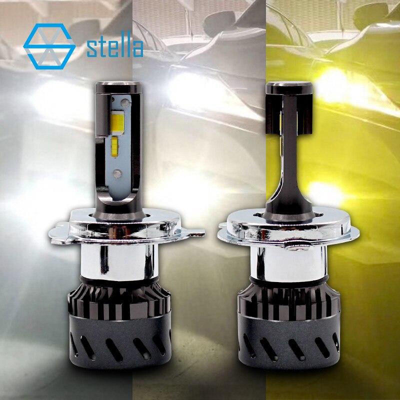 Новый 3 цвета Изменение светодио дный лампа фары/туман light 3000 К желтый 4300 К 6000 К белый светодио дный фары H1 H3 H4 H7 H8/9/11 9005/6 9012