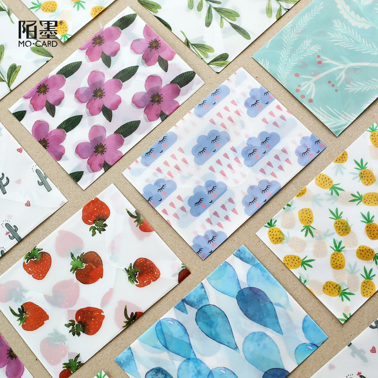 3 Enveopes And Sealing Stickers/pack  Floral Fruits Envelope Parchment Paper Photo Postcard Bookmark Card Holder Storage Bag