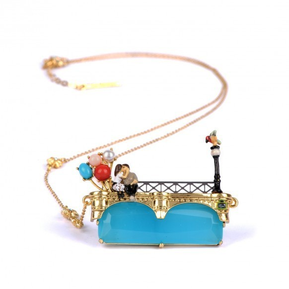 France LES Nereides Romantic Paris Lover Eiffel Tower Balloon Enamel Necklace For Woman Luxury Party Jewelry