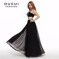 Real Photos A Line Evening dress Handwork Design Sexy Black Color crystal 2 piece prom dress Front and Back Cut Outs OL102694