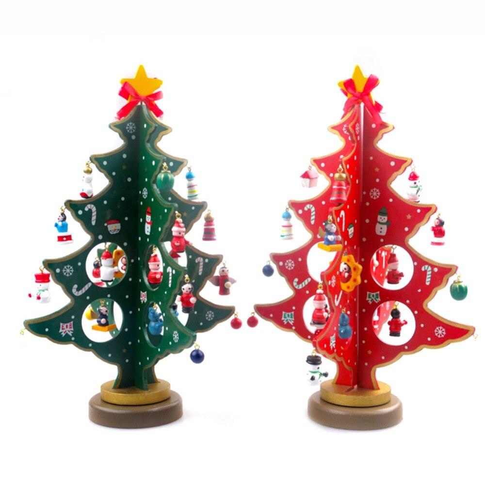 Miniature Christmas Ornaments.Us 10 45 40 Off 1pcs Diy Wooden Christmas Tree Tabletop Christmas Tree With Miniature Christmas Ornaments For Home Christmas Xmas Decoration In