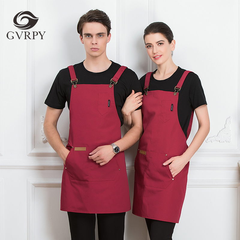 2019 New Men's And Women's Adjustable Shoulder Strap Chef Apron Hotel BBQ Cafe Catering Service Bakery Waiter Kitchen Work Apron