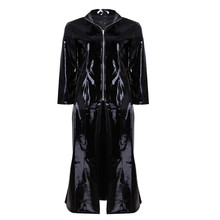 S-XL Unisex Men Women Sexy Lingerie PVC Leather Wetlook Long Sleeve Coat Clubwear for Party Club