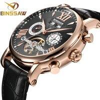 BINSSAW Men Watch Luxury Brand Automatic Mechanical Fashion Tourbillon Sport Leather Man Calendar Week Watches relogio masculino