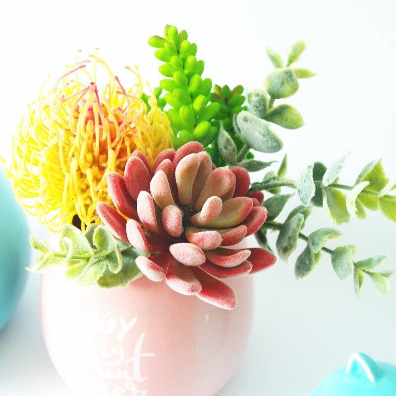 Mini Echeveria Elegance Yapay Etli Bitki Plastik Çiçek Dekorasyon - Tatiller ve Partiler Için - Fotoğraf 1