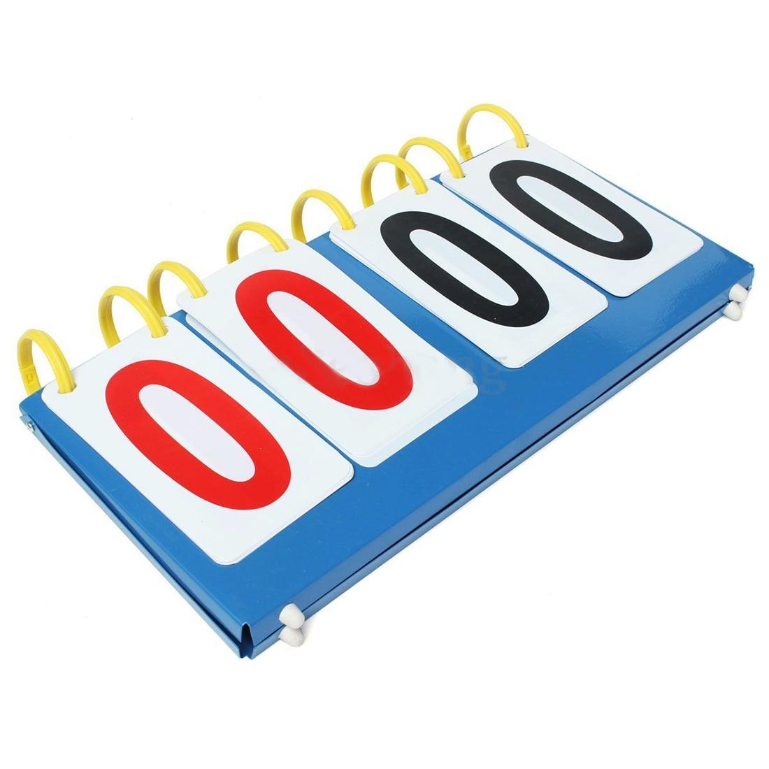 JHO-Portable 4 Digit Scoreboard Sports Flip Score Board Basketball Scorer Tennis