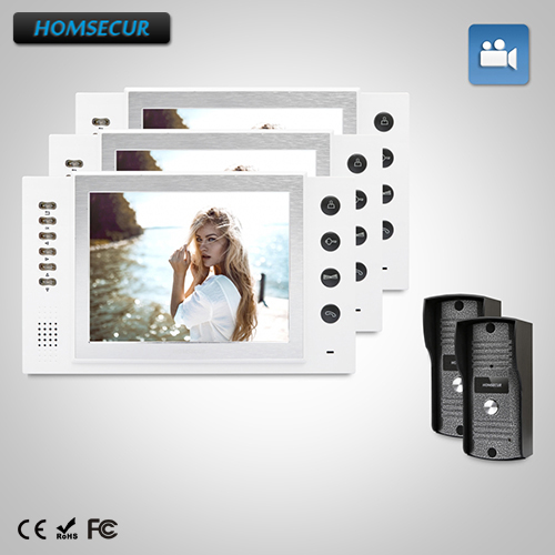 HOMSECUR 8 Video Door Entry Security Intercom Electric Lock Supported 2C3M : TC031 Camera+TM801R-W Monitor(White)