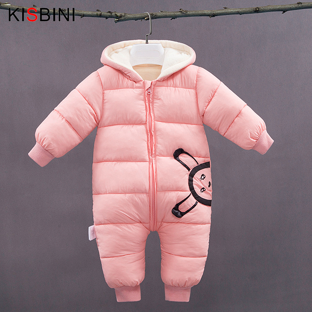 KISBINI Baby Rompers 2018 Winter Baby Clothes Boys Girls Cotton Thick Jumpsuit Warm Rompers Bebe One Pieces 0 2 Kids Pink Blue