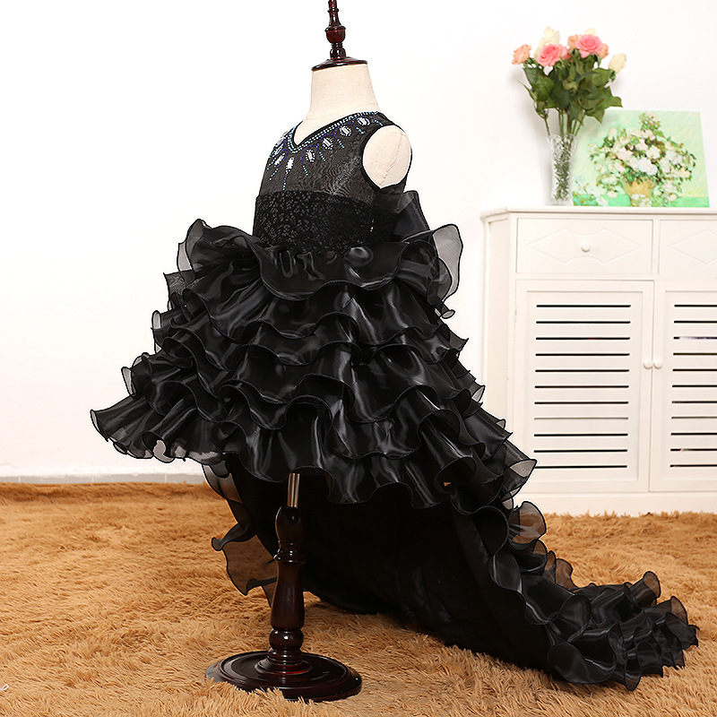 Flower girl wedding dress dance detachable trailing dress lovely princess black lace cake dress swallowtail host dress 18N1126Flower girl wedding dress dance detachable trailing dress lovely princess black lace cake dress swallowtail host dress 18N1126