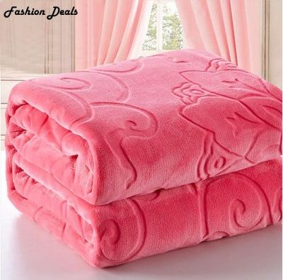 Ev Tekstili Kırmızı Renk Mercan Polar Battaniye Avrupa Kalın - Ev Tekstili - Fotoğraf 5