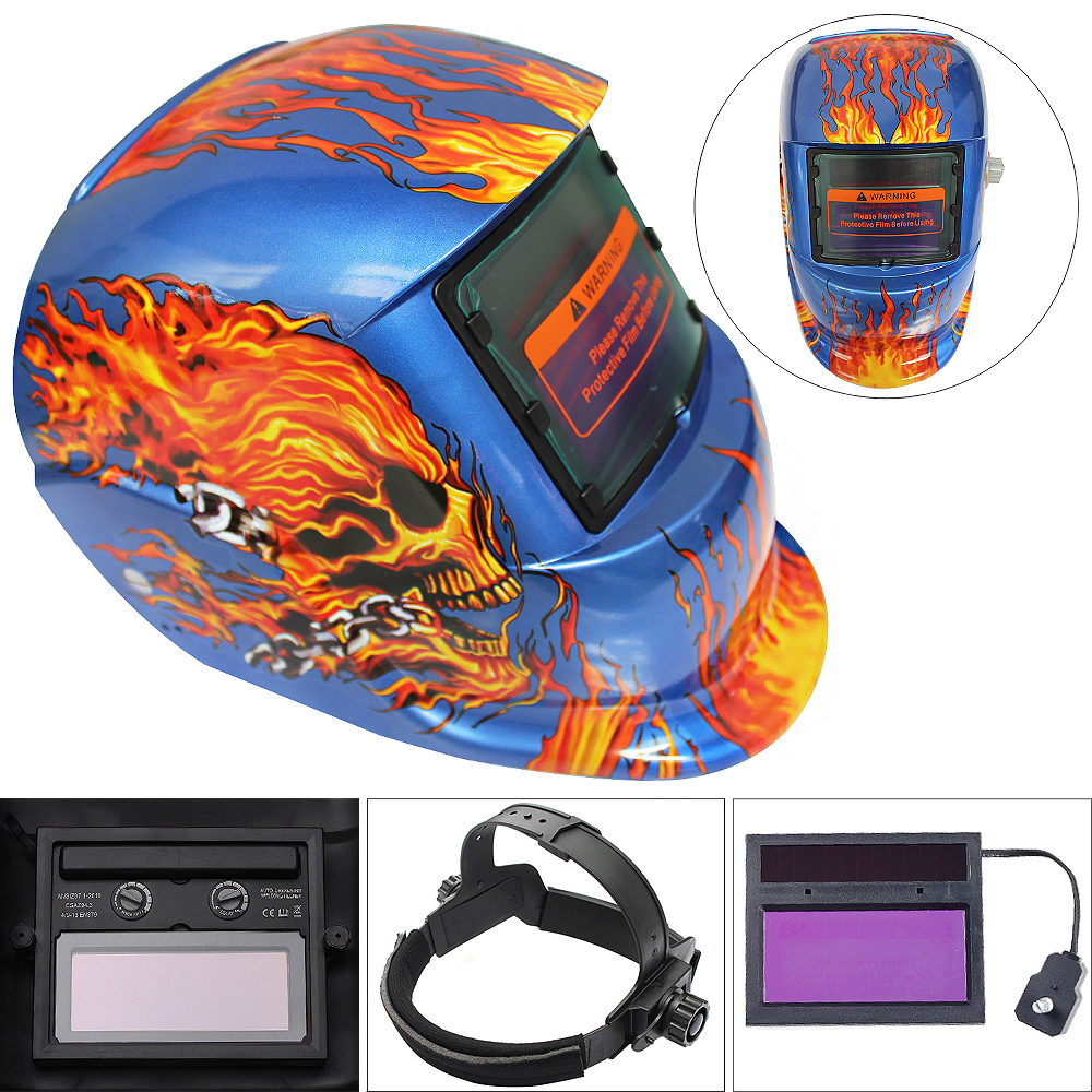 New Blue Skull Head Adjust Solar Auto Darkening TIG MIG Grinding Welding Helmets / Face Mask / Electric Welding Mask / Weld Cap airsoft adults cs field game skeleton warrior skull paintball mask