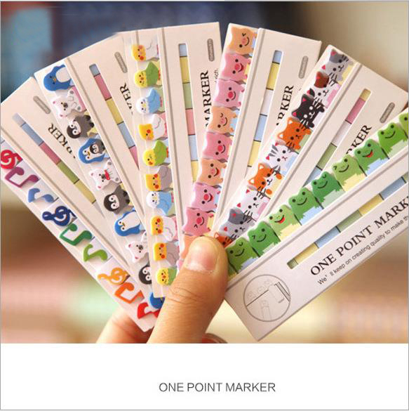 1Pcs New Lovely One Point Marker Mini Cartoon Animal Design Memo Pad Bookmark Sticky Note Label Post It H0421