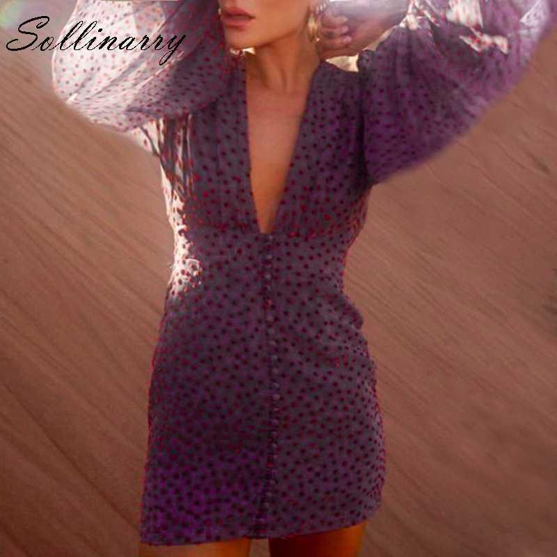 Sollinarry Высокая Талия Для женщин бохо платье Элегантный шик с глубоким v-образным вырезом на шее зимнее платье Для женщин в горошек осень; одежда из шифона пикантное платье vestidos