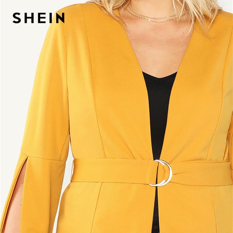 00042c09ef ... SHEIN Plus Size Split Sleeve Belted Women Workwear Blazer Long Sleeve  Plain Wrap Outerwear Autumn Office Ladies Elegant Coats. -32%. Click to  enlarge