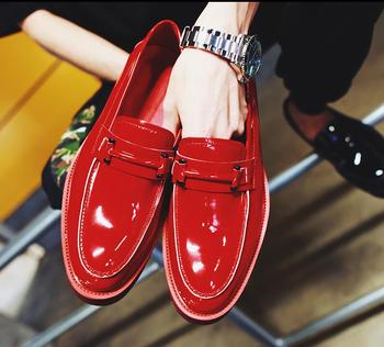 Slip-On Men's Casual Shoes Patent Genuine Leather Flats Loafers Platform Height Increasing Shoes 5cm Male  Moccasin Gommino