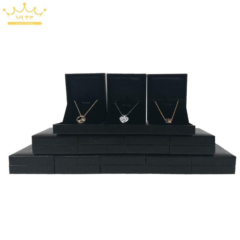 60pcs/lot Pendant Earrings Box Jewelry Gift Box Black Leatherette Accept Custom 6.5*8*2.8cm