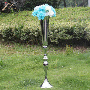 Vase Candle-Holders Wedding Centerpieces Road-Lead-Flower Height Metal Silver Event Pillar