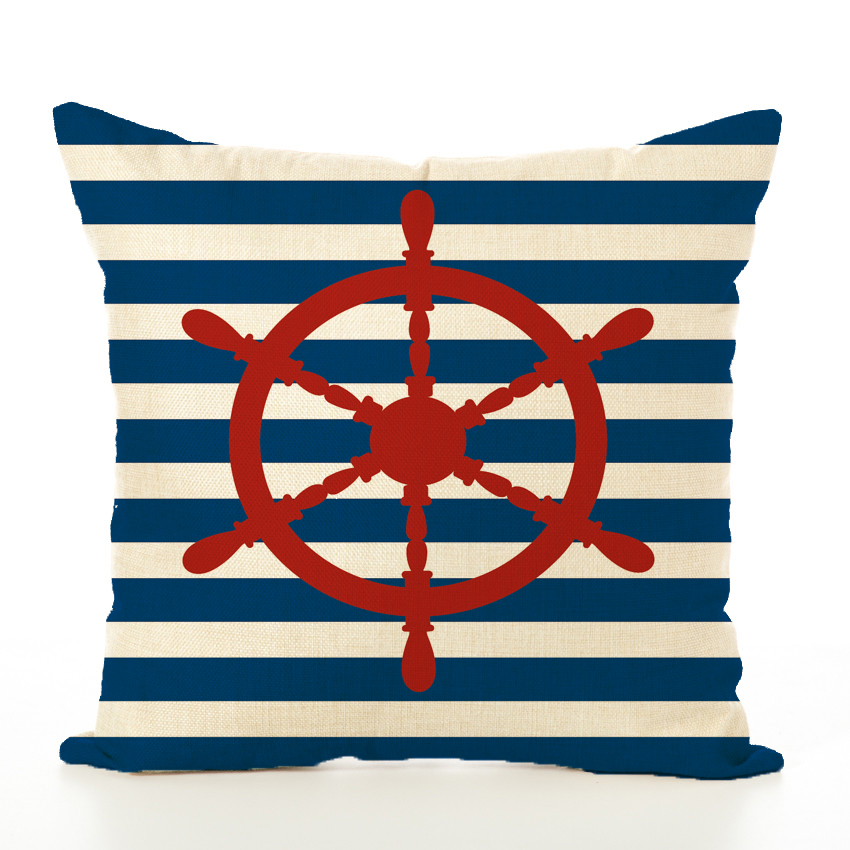 Anchor Red Helm Cushion Cover Anchor Boat ocean Marine Linen Throw Pillow Case Home Decorative