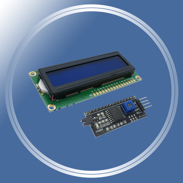 Free shipping! 1602 16x2 HD44780 for arduino Character LCD /w IIC/I2C Serial Interface Adapter Module