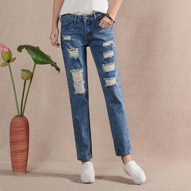 Fashion Loose Nine Pants Wide Leg Hole Slim Haren Baggy ladies jeans pant GY8709