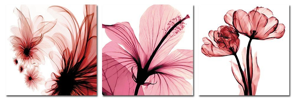 banmu abstract paintings giclee canvas prints framed red flowers artwork for home decor 3 panels wall